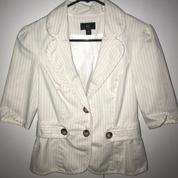 Jackets & Blazers - White / Cream Striped Blazer